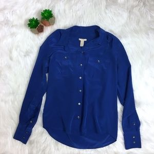 J. Crew Royal Blue Blythe Silk Button Up Blouse